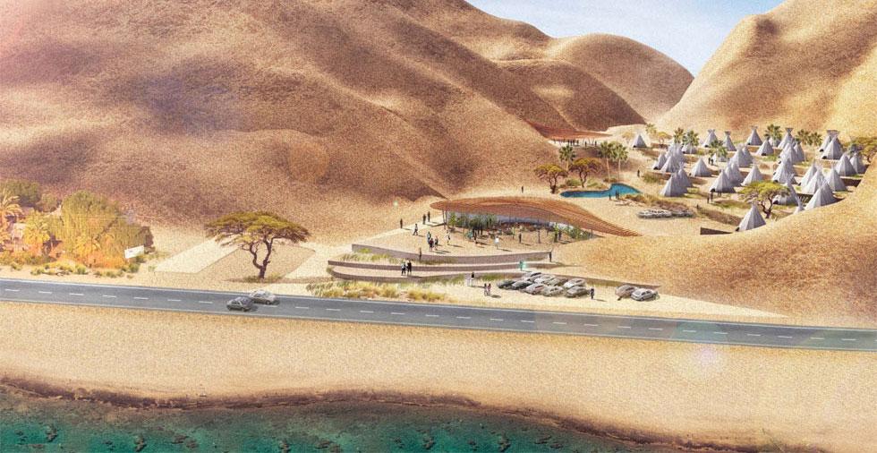 וכך זה אמור להיראות אחרי יישום התוכנית: כפר נופש אקולוגי שימשוך צוללים (באדיבות מייזליץ כסיף אדריכלים)