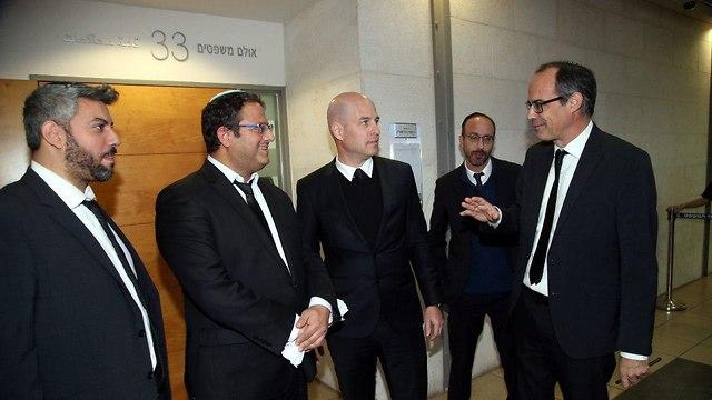 Keidar, far right, with other Honenu lawyers, including Itamar Ben Gvir, second from the left (Photo: Yariv Katz)