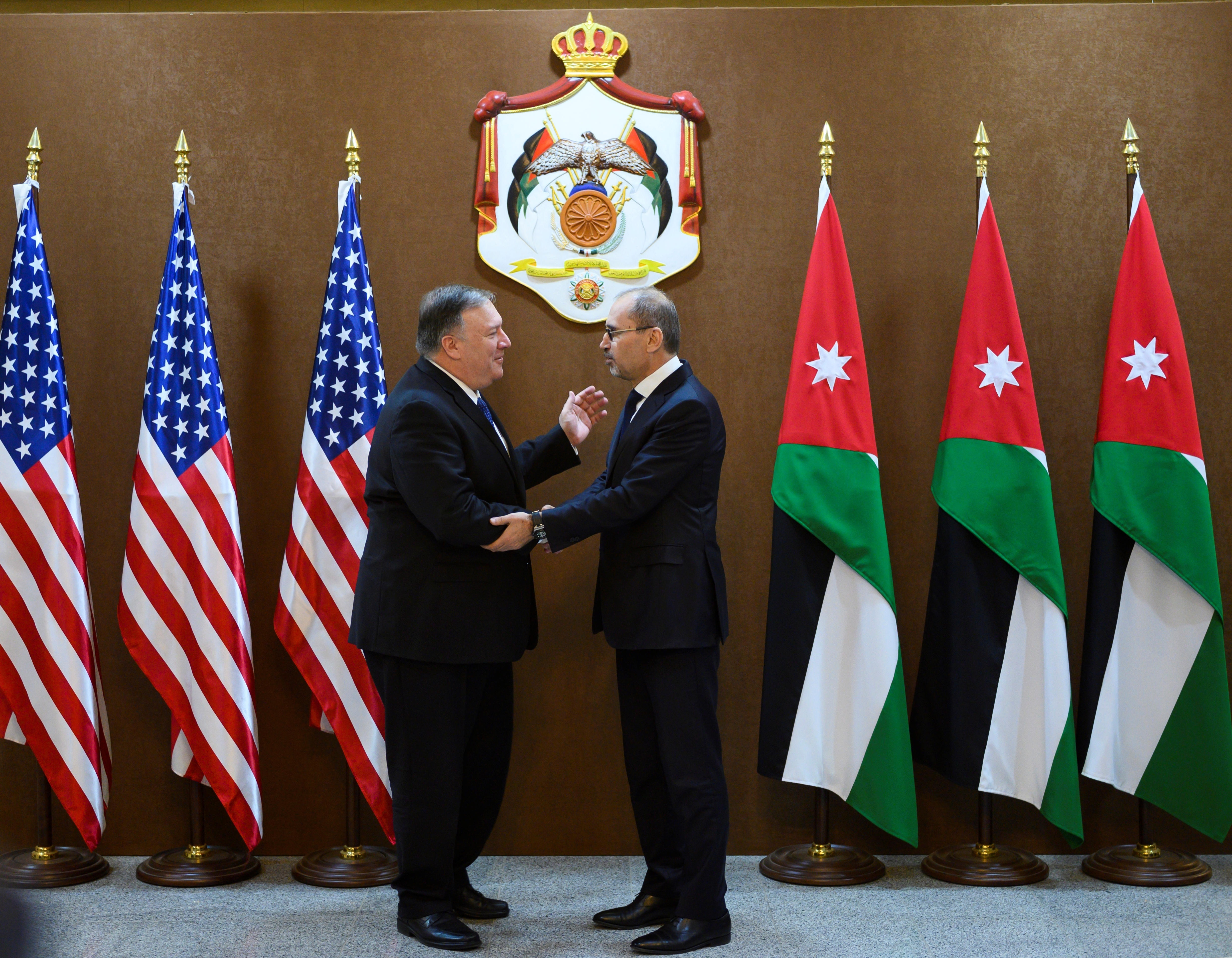 US Secretary of State Mike Pompeo meets with Jordanian Foreign Minister Ayman Safadi, Amman, January 8, 2019.