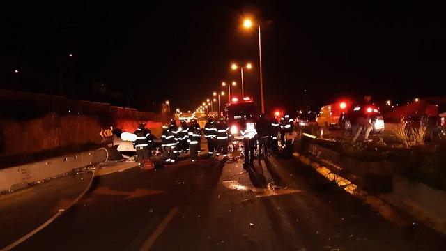 תאונת דרכים צ'ק פוסט חיפה (צילום: איחוד הצלה כרמל)