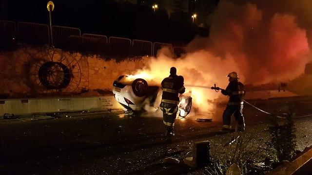 תאונת דרכים קטלנית בחיפה (צילום: דוברות מד