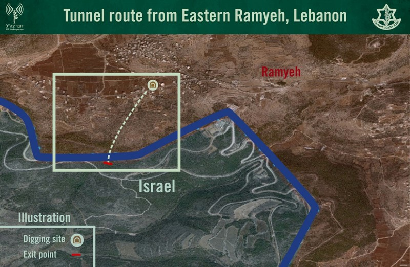 Map showing tunnel from Lebanon into Israel (Photo: IDF Spokesman's Office)