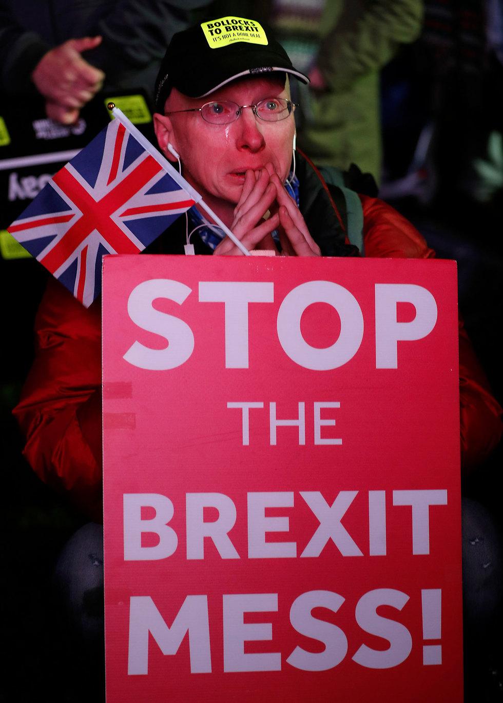 מחאה על הברקזיט מחוץ לבית הנבחרים הבריטי בלונדון (צילום: AP)