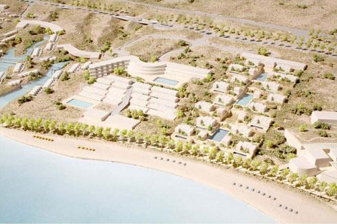 פרויקט תיירות ראוותני שספדיה מתכנן בים המלח, כולל חדרי נופש על המים (הדמיה: משה ספדיה אדריכלים)