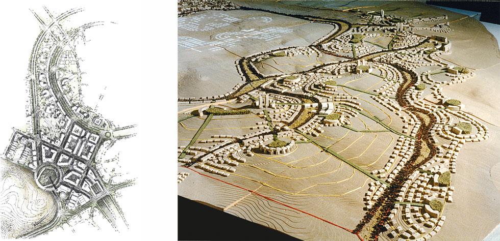 העיר מודיעין, שנבנתה בהינף יד לפי תכנונו של ספדיה, היא כנראה הפרויקט המותקף ביותר של ספדיה בישראל. עיר שינה ולא עיר (צילום ושירטוט: משה ספדיה אדריכלים)