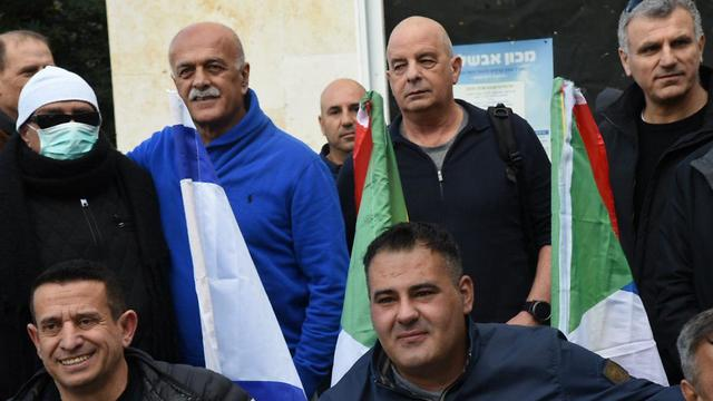 יובל דיסקין ואמל אסעד בצעדת חוק הלאום  (צילום: אביהו שפירא)