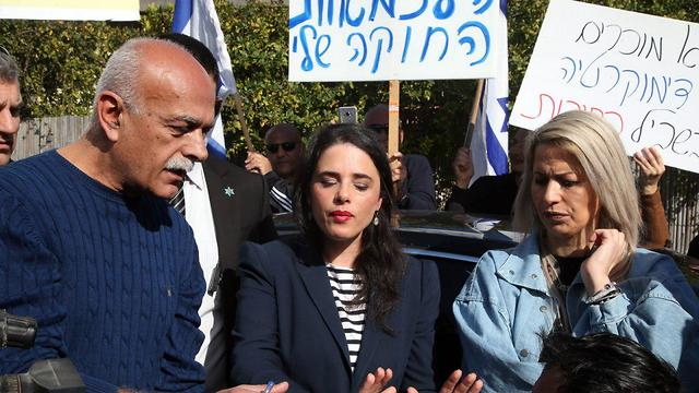 Justice Minister Ayelet Shaked speaks with Druze protesters against the Nation-State Law  (Photo: Yariv Katz)