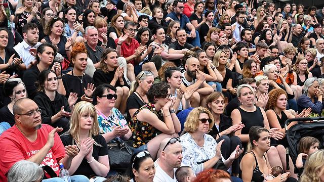 אירוע זיכרון המוני לצעיריה הישראלית איה מסארוה שנרצחה באוסטרליה (צילום: AFP)