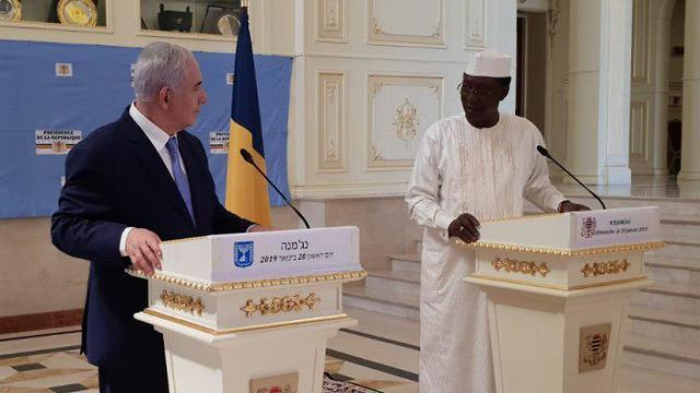 הצהרת ראש הממשלה בנימין נתניהו יחד עם נשיא צ'אד אידריס דבי, במסגרת ביקורו במדינה ()
