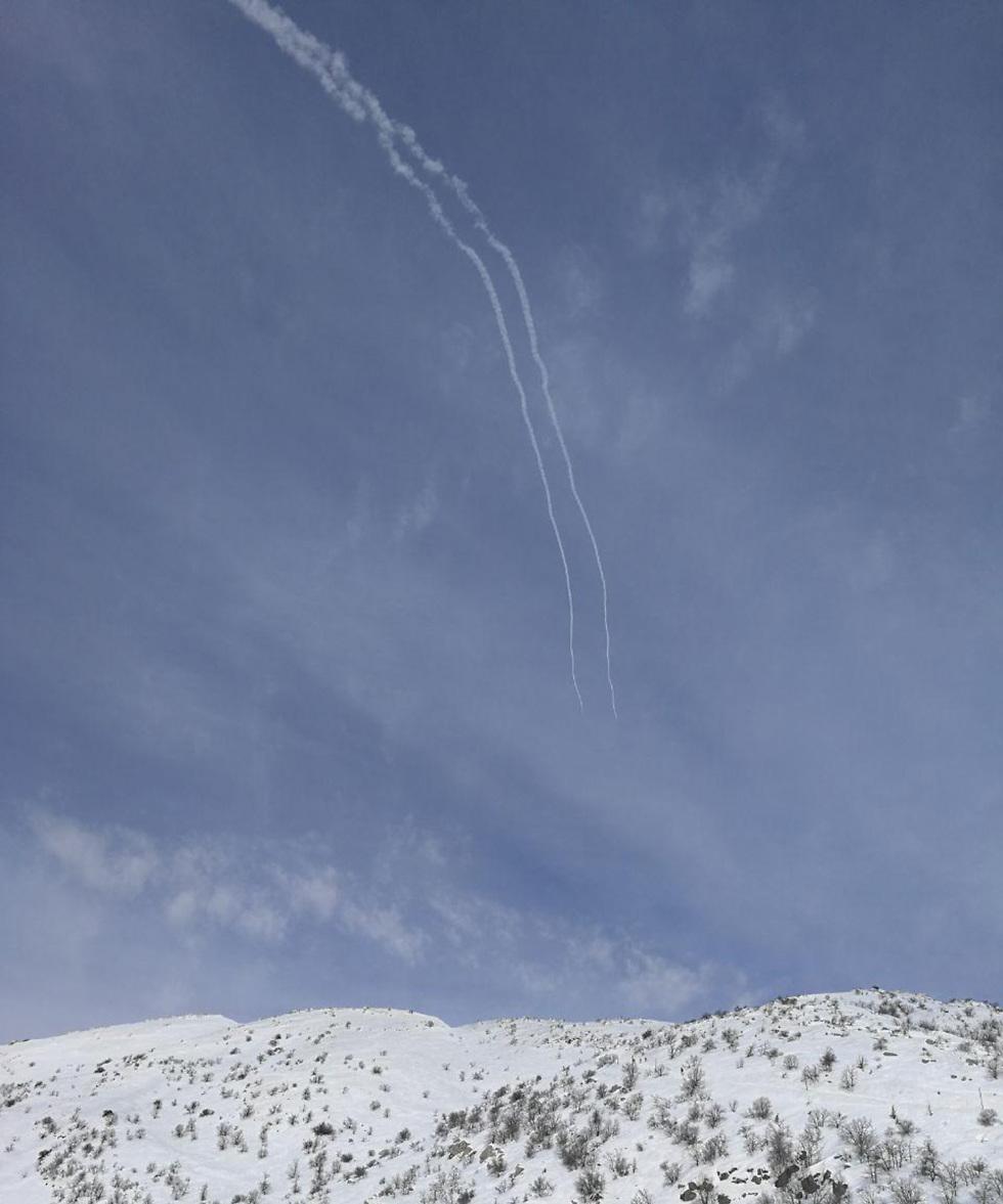 Iron Dome intercepts rockets over Mount Hermon (Photo: Attila Somfalvi)
