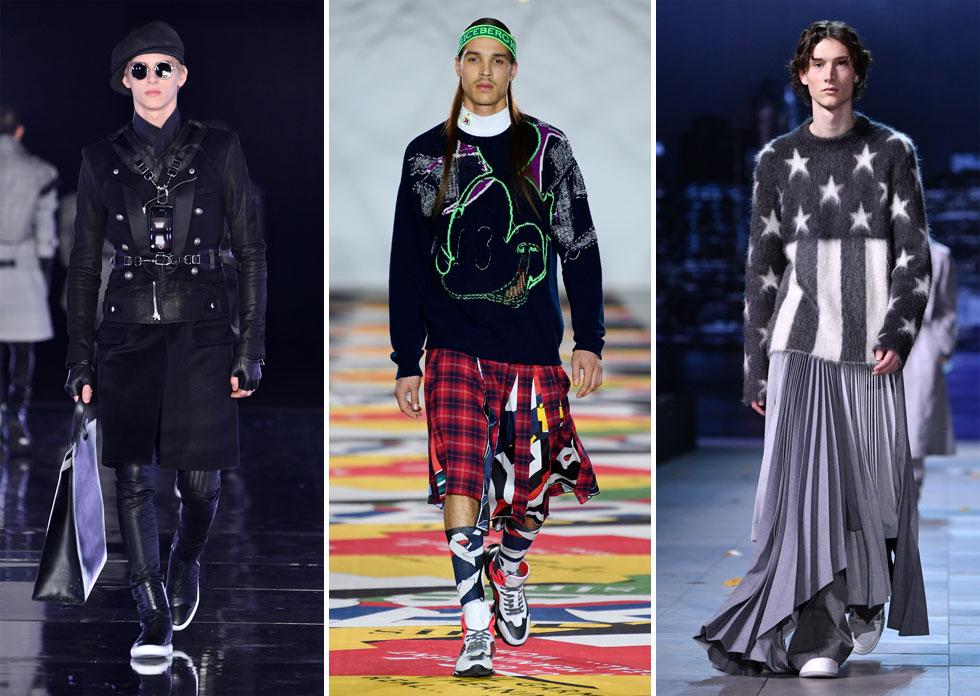 """בעידן של נזילות מינית ורצון למשוך תשומת לב על המסלול, פחות מרגש לראות חצאיות לגברים, שמדי כמה עונות שבות לבצבץ כטרנד חולף. בלואי ויטון ראינו חצאיות מקסי, בבלמן יצרו """"חצאיות"""" באמצעות חגורות על מקטורנים ארוכים, ובמותג אייסברג שיחקו עם בד הטרטן הבריטי (צילום: Pascal Le Segretain/GettyimagesIL, rex)"""