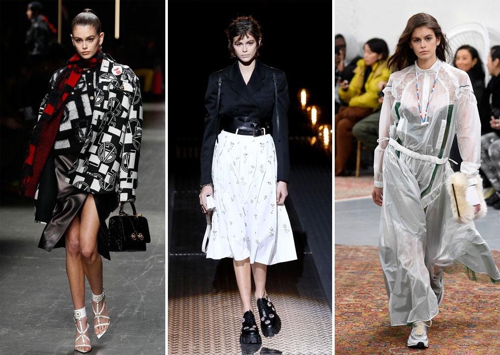 הדוגמנית קאיה גרבר בת ה-17 צעדה במספר תצוגות במילאנו ובפריז, כמרעננת הרשמית בתקופה שבה קווי הנשים והגברים אוחדו לתצוגה אחת. גרבר צעדה על המסלולים של ורסאצ'ה, פראדה ומותג האופנה סקאי, חביב עורכות האופנה והטופ מודלס (צילום: Tristan Fewings/GettyimagesIL, AP, rex)