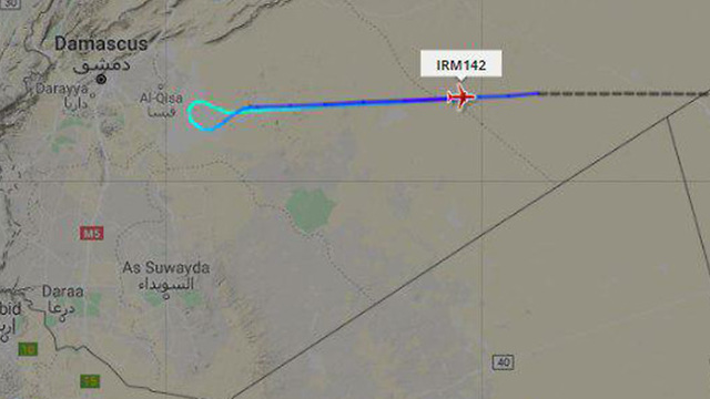 The flightpath of the Mahan airliner that turned back from Damascus