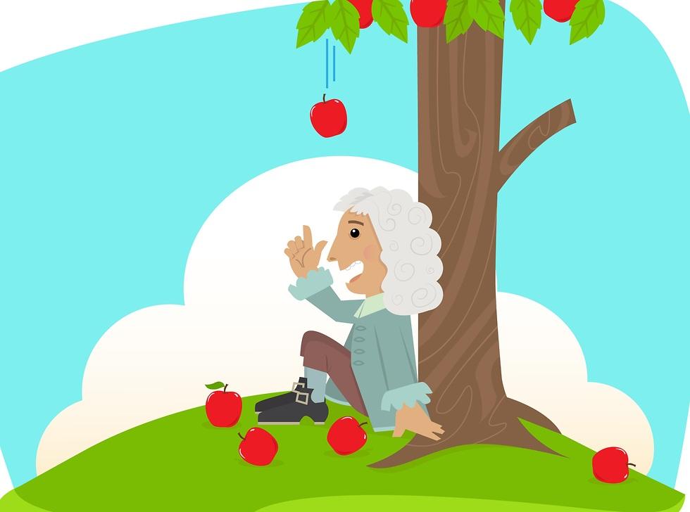 איור של ניוטון ותפוח (צילום: shutterstock)
