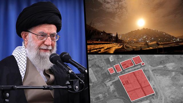Духовный лидер Ирана аятолла Хаменеи; ночной удар по Сирии; иранские объекты на карте ЦАХАЛа. Фото: EPA, пресс-служба ЦАХАЛа
