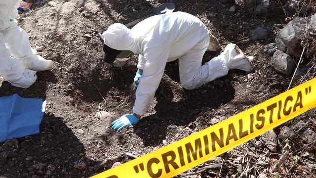 חוקרים בוחנים קבר לא-מזוהה במדינת גררו שבמקסיקו (צילום: EPA)