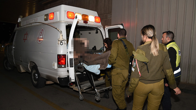 Wounded IDF officer taken to hospital (Photo: Harel Yosef)