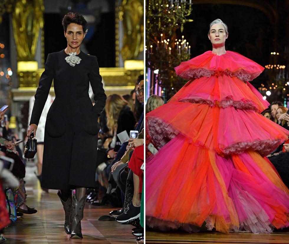 שתי הפתעות המתינו למוזמנים בתצוגה של המותג האיטלקי סקיאפרלי: הדוגמנית והמוזה הנצחית פארידה חלפה צעדה בשמלת מעיל שחורה, והדוגמנית ארין אוקונור חתמה את התצוגה בשמלת קומות בצבע ורוד זועק המזוהה עם מייסדת המותג, ובגזרה שהציגה דמיון מחשיד לשמלות של ג'יאמבטיסטה ואלי (צילום: Pascal Le Segretain/GettyimagesIL)