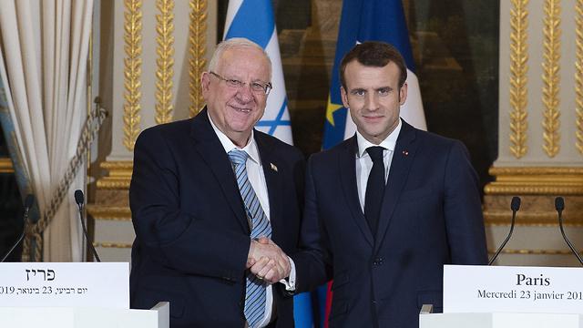 נשיא המדינה ראובן ריבלין עם נשיא צרפת עמנואל מקרון (צילום: MCT)