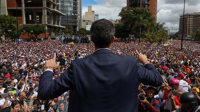 Venezuelan opposition leader Juan Guaido during a protest in Caracas (Photo: EPA)