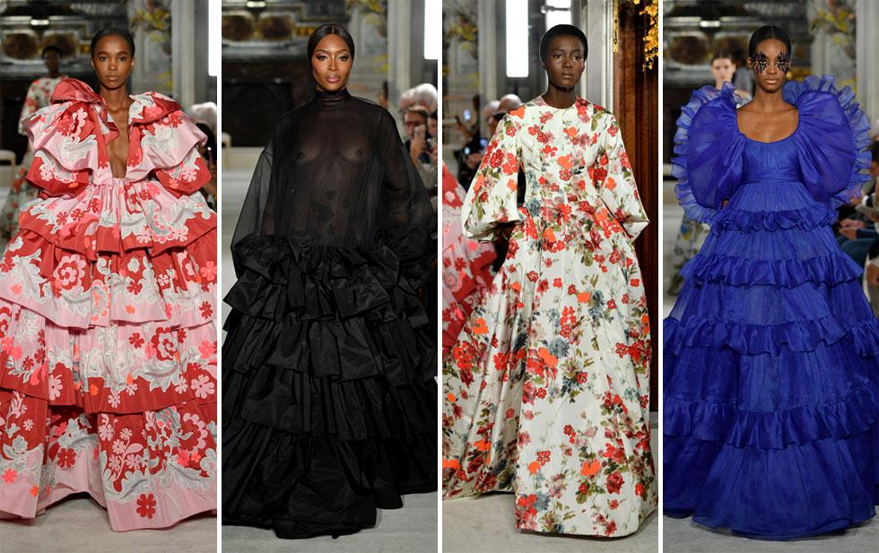 המעצב פייר פאולו פיקיולי מבית האופנה ולנטינו הצעיד על המסלול של המותג איקונות כמו נטליה וודיאנובה (בהופעה נדירה) ונעמי קמפבל, שלבשה שמלה שחורה שקופה וחושפת פטמות. קמפבל היתה חלק מקבוצה גדולה של דוגמניות שחורות שחרכו את המסלול של ולנטינו בשמלות ערב חלומיות שכל אישה היתה רוצה (צילום: Pascal Le Segretain/GettyimagesIL)