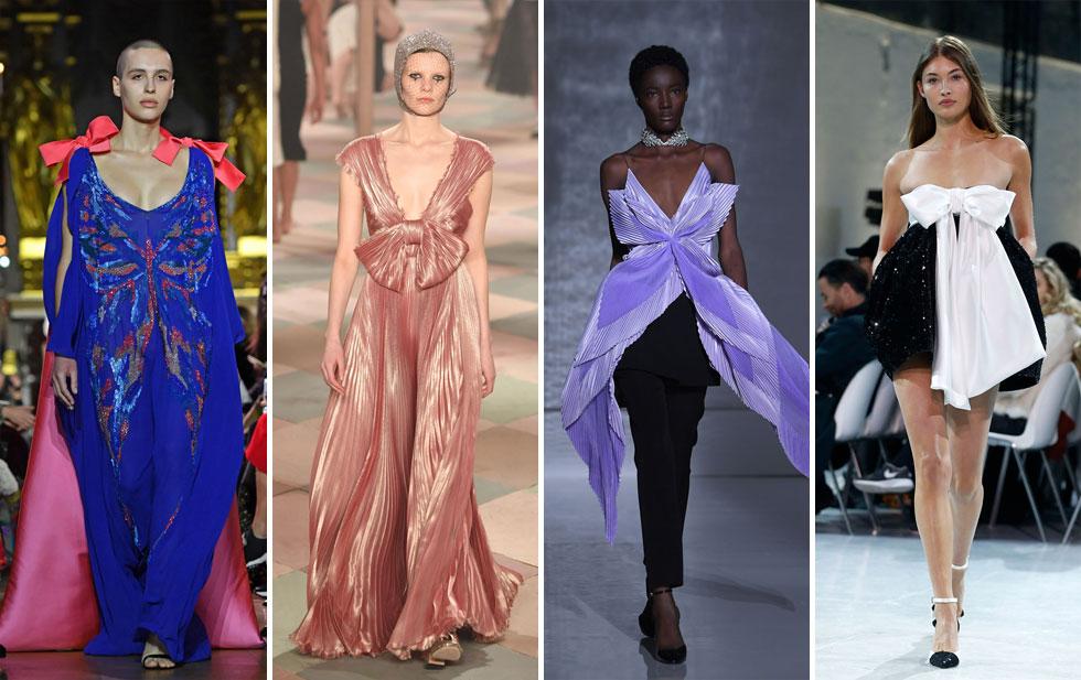 שנה ל-MeToo# ונראה שמעצבי האופנה מחזירים את הנשים כמה צעדים אחורה, לבושות כאריזת מתנה עם שלל פרשנויות לטרנד: מפפיון קטן כרמז בחליפה כסופה של ארמאני פריווה, דרך פפיון לבן התלוי על שמלת סטרפלס שחורה של אלכסנדר ווטייה ועד פפיון סגול ענק המעטר אאוטפיט שחור של ז'יבנשי (צילום: Pascal Le Segretain,Thierry Chesnot/GettyimagesIL)