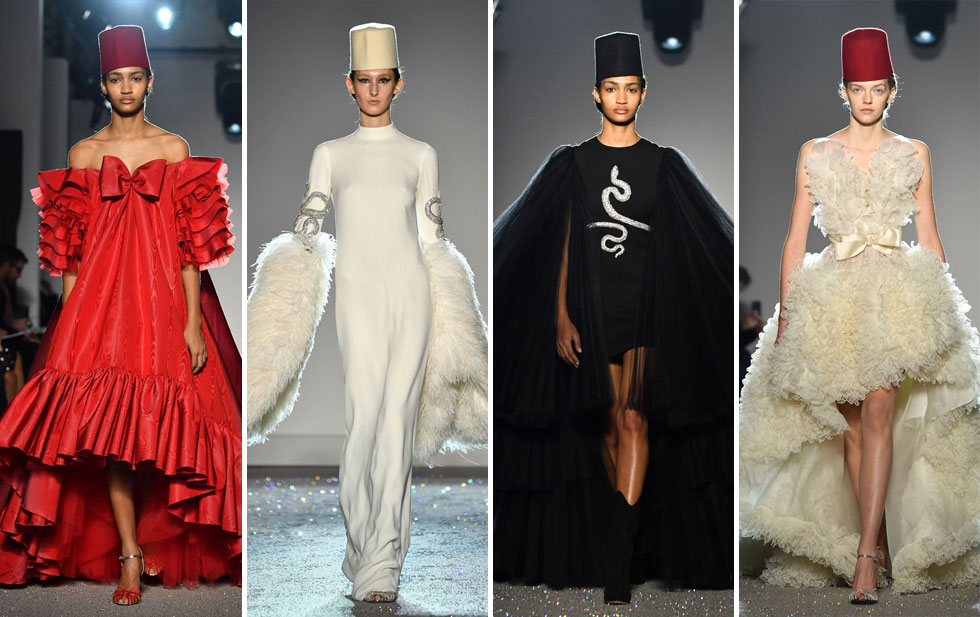 """אם אתן מחפשות בגד למימונה, המעצב האיטלקי ג'יאמבטיסטה ואלי תפר לכן שמלת הוט קוטור חלומית עם תרבוש לקינוח. ולא, זו אינה מחווה לאופרת הסבון הממכרת """"הכלה מאיסטנבול"""", אלא בהשראת עבודת האמנות """"המרחץ הטורקי"""" של דומיניק אנגר מאמצע המאה ה-19 (צילום: Pascal Le Segretain/GettyimagesIL)"""