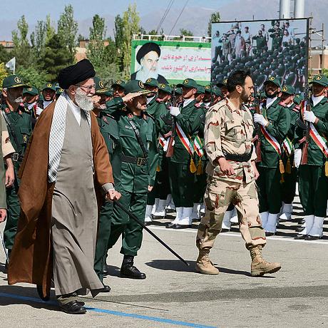 Iranian Supreme Leader Khamenei at a military parade