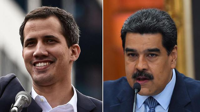 נשיא ונצואלה ניקולס מדורו עם ראש האופוזיציה חואן גוואידו (צילום: AFP)