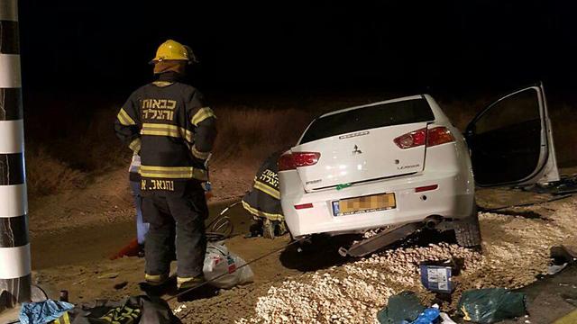 זירת התאונה (צילום: דוברות כיבוי והצלה)