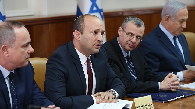 Naftali Bennett at a cabinet meeting (Photo: Amit Shabi)