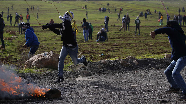 Palestinian rioting near the settlement of Adei Ad in the West Bank