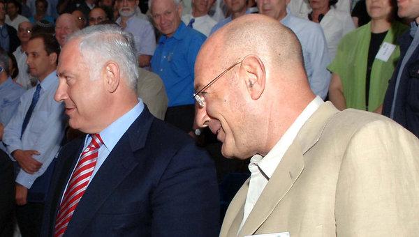 Ariel Sharon. Benjamin Netanyahu and Arnon Milchan, 2005