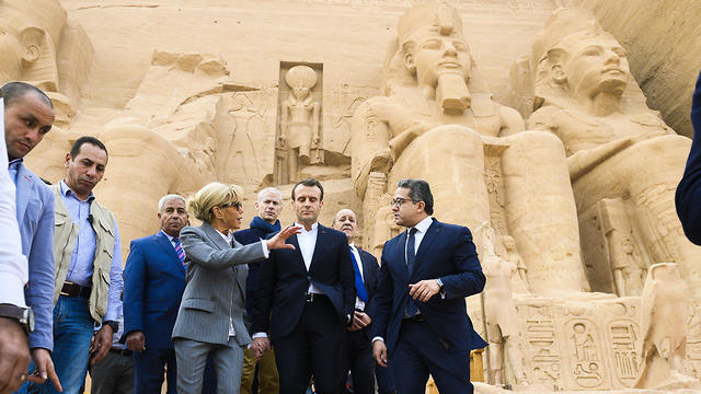 Emmanuel and Brigitte Macron visit the Abou Simbel Temple during a state visit to Egypt, January 27, 2019.
