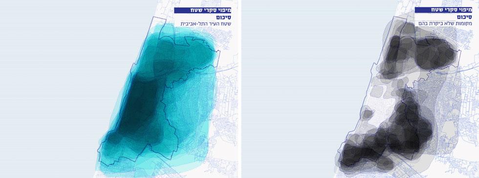והנה התשובה של 700 אנשים ברחבי העיר לשאלה: איפה זה תל אביב? ולשאלה השנייה: איפה לא היית מעולם בתל אביב? (מפה: דרמן ורבקל אדריכלות)