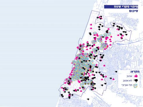 שקלול 700 התשובות מגלה: רוח ת''א היא מרכז העיר, כאילו לא עברו 100 ומשהו שנה מייסוד העיר (מפה: דרמן ורבקל אדריכלות)