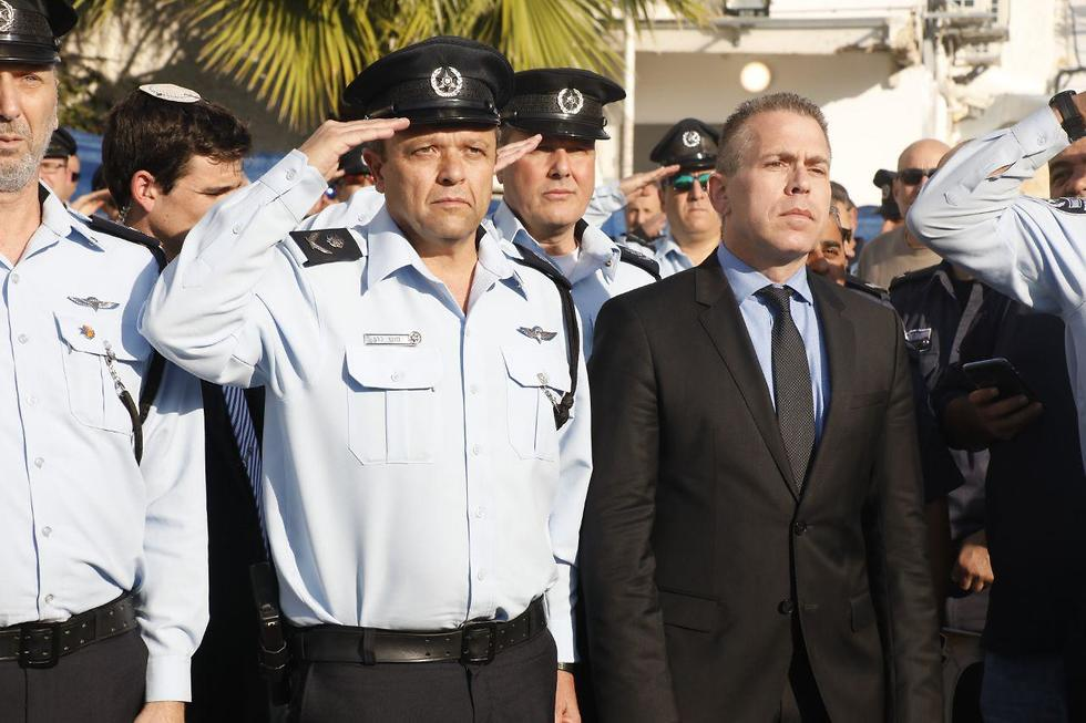 Public Security Minister Gilad Erdan at the inauguration of the police station in Kafr Qassem earlier this year   (Photo: Shaul Golan)