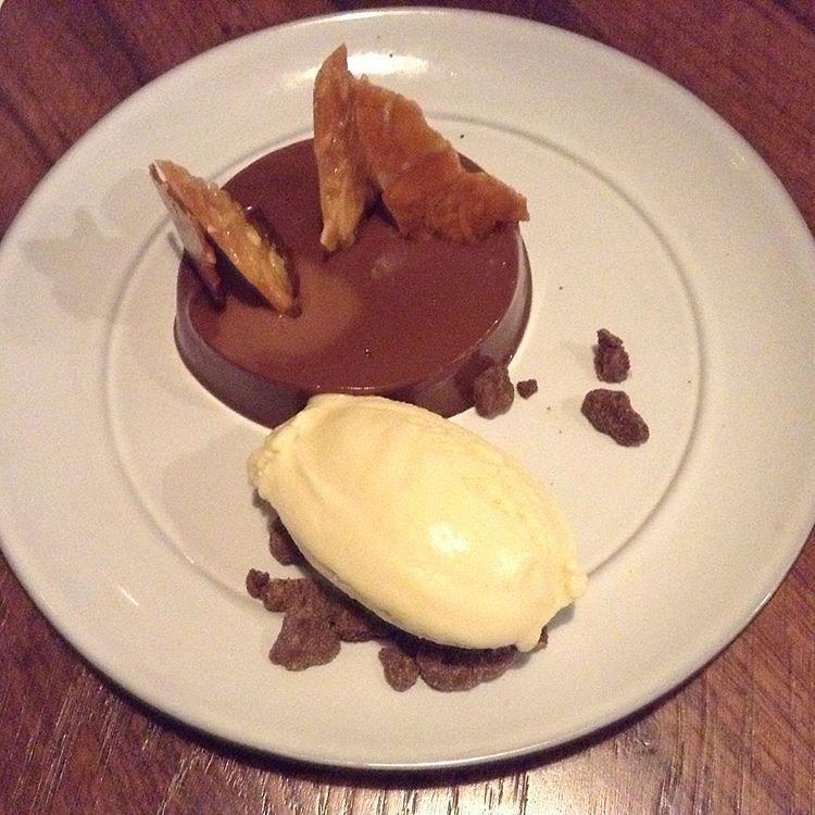 Chocolate cremeux with almond ice cream (Photo: Buzzy Gordon)