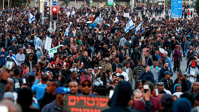 Ethiopian Israelis protest police violence after the death of Yehuda Biadga (Photo: AFP)