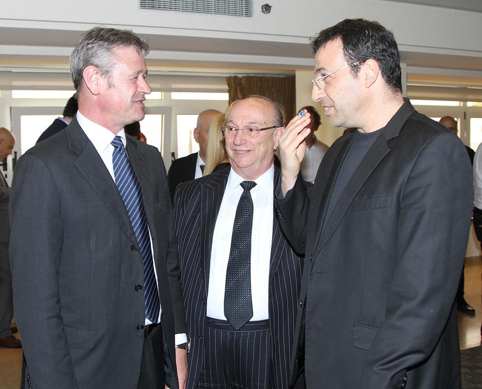 רכילות עסקית רביב דרוקר, גדעון המבורגר וז'אן- דניאל רוח (צילום: דרור איתן)