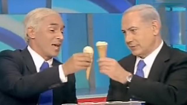Mariano Idelman and Benjamin Netanyahu on Eretz Nehedert (screenshot)
