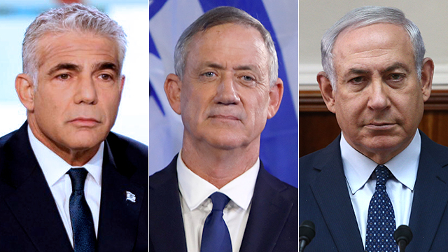 Political newcomers Yair Lapid, left, and Benny Gantz, center, pick their party's Knesset hopefuls, unlike Benjamin Netanyahu's Likud party