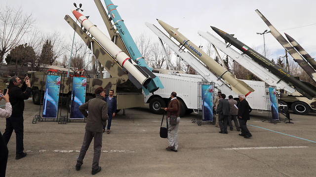 Iranian new cruise missile Hoveizeh is displayed during a weaponry and military equipment exhibition in Tehran, Iran, 02 February, 2019
