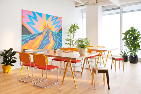 הסניף החדש של WeWork בסן פרנסיסקו מייצג את הכיוון העיצובי של התאגיד (צילום: WeWork)