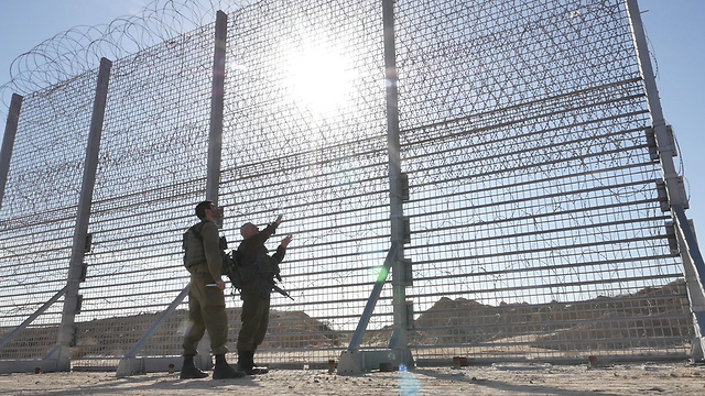 Land barrier built along the border with Gaza