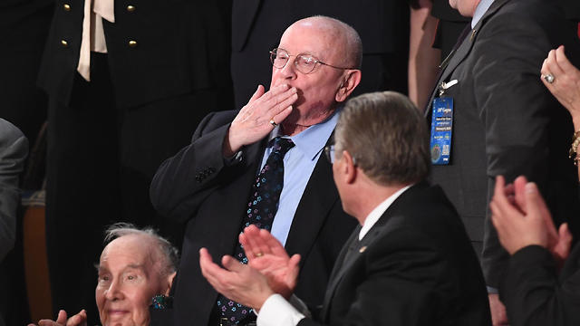 Judah Samet blows a kiss as he is acknowledged during the State of the Union address at the US Capitol in Washington, DC.