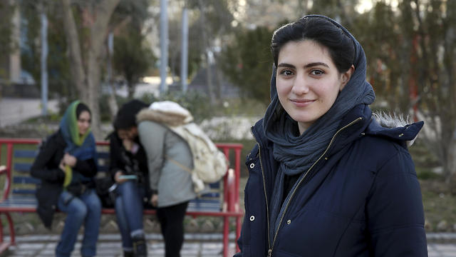 Kimia Zakeri, a 20-year-old graphic design student from Tehran (Photo: AP)