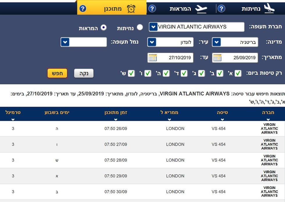 לוח טיסות וירג'ין אטלנטיק ()