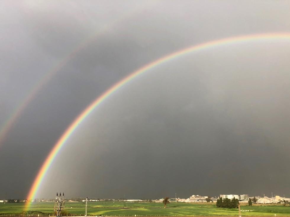 Двойная радуга в Ганей-Авивe. Фото: Йонатан Баркан