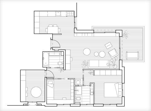 תוכנית הדירה. שירותי האורחים בוטלו, כדי להרוויח עוד קצת מרחב בחדרים (תוכנית: אמיצי אדריכלים)